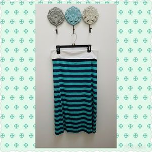 Maxi Short, Teal & Blue Stripe